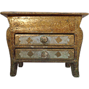 Italian Gold Florentine Miniature Bombay Chest Hand Painted Footed Jewelry Box