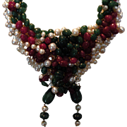 SALE Genuine Emerald & Ruby beads & Pearls : Holiday