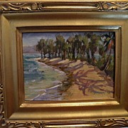 SALE Jan Bushart Hawaii-oo/b Beach Scene with Iron Trees