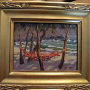 SALE Jan Bushart Hawaii oo/b Beach Scene with Hammock