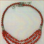 SALE Tibetan beads Red coral : Kasmiri Kiss