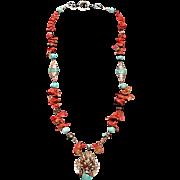 SALE Tibetan beads Coral Turquoise : Lucky Dragon