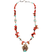 SALE Tibetan beads Coral Turquoise : Lucky Dragon