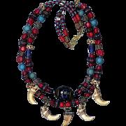 SALE Tibetan beads Turquoise &  Bone carved beads : Magic Lady