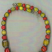 SALE Tibetan beads Yellow Amber Red Coral: Mighty Mogul (Mughal)