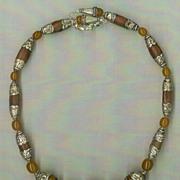 SALE Tibetan Copal Amber beads & Silver Caps  : Ancient Amber