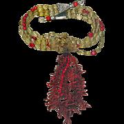 SALE Red Coral & Citrine beads & Coral Frangia : Oklahoma Necktie