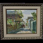 EMMETT FRITZ street scene painting of St. Augustine, Florida, oil on board.