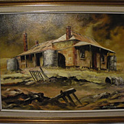 "SALE Stan Johns Australian Artist ""Outback Shack"" 1978 oil/board (15"" x 20"" )"