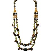 SALE Australian Fairy Boulder Opal Necklace with Green Amethyst, Peridot, & Citrine