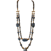 SALE Natural Blue Coral & Vermeil Double Strand Necklace