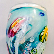 SALE Australian Art Glass Large and Heavy Reef Incalmo Vase by Artist-Glassblower Chris Pantan