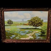 SALE Texas Artist Manuel Garza Large oil on canvas, Bluebonnets with Windmill, 1971