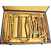 SALE Chinese COURT NECKLACE – Gilt/gold beads & Jade Beads, 68 inch Chaozhu in Fitted Box