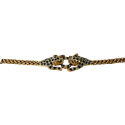 SALE Leopard (Panther) 14K Gold, Sapphire & Diamond Ring and Bracelet Set, with Appraisal