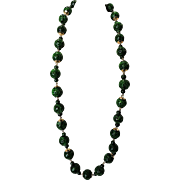 SALE Jade Jadeite Vintage 14K Chinese Necklace with Pierced Hollowed Green Beads