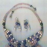 SALE Imperial Morganite beads Tanzanite beads : Princess Morganite - with Cultured Pearls - ..