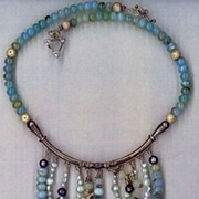 SALE Peruvian Opals &  Druzy Pearls : Sky High Blue Bib