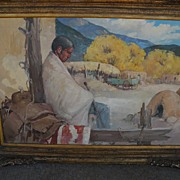 "SALE ""Siesta"" - Original Oil/Board Painting - by important New Mexico artist James B"