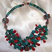 SALE Coral & Turquoise Beads : Tibetan Teardrops