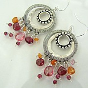Pink Parfait - Multi Dimensional And Textured Sterling Silver Pink And Orange Gemstone Earring