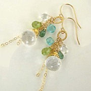 Coquette - Micro Faceted, Sparkly Rock Crystal, Indocite, Peridot, Apatite, 14K Gold Filled An