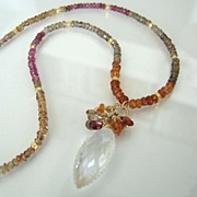 Sheer Elegance - OOAK Tundra Sapphire, Rock Crystal, Vermeil And 14K Gold Filled Necklace