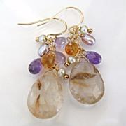 Golden Girl - Golden Rutilated Quartz, Citrine, Amethyst, Pearls - 14K Gold Filled Earrings