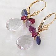 Pink Panther - Rose Quartz, Rhodolite Garnet, Iolite - 14K Gold Filled Drop Earrings