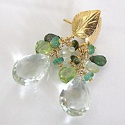 Feuilles d'or - 11 Carats Prasiolite, Emeralds, Prehnite, Peridot, Tourmaline, Vermeil Leaf Po
