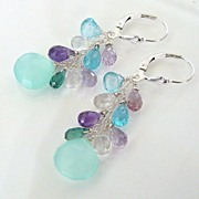 Jewels - Aqua Chalcedony, Apatite, Rock Crystal, Amethyst, Tourmaline, Sterling Silver Earring