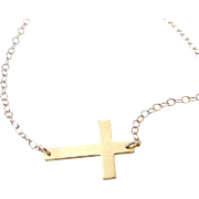 14K SOLID GOLD Small Sideways Cross Necklace - 14K Yellow or White Gold Horizontal Cross - Han