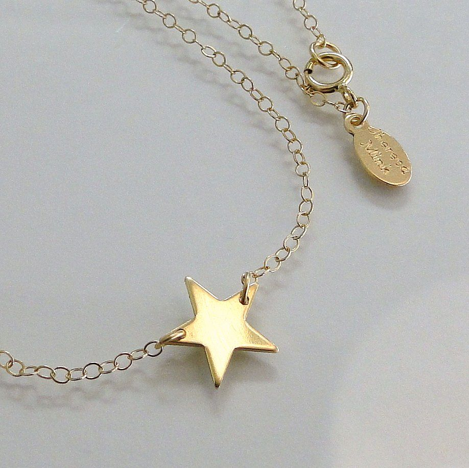 Solid Gold Star Necklace 14k Yellow Gold From