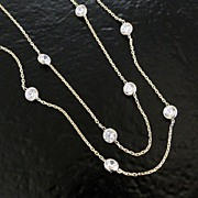 14K Solid Yellow Gold Cubic Zirconia Station Necklace, 18 Inch Length