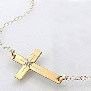 14K Gold And Diamond Sideways Cross Necklace - 14K Yellow Gold Horizontal Cross - As Seen On T
