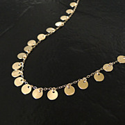 SOLD 14K SOLID Yellow Gold Tiny Disc Necklace - Also Available in White Gold