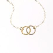 Tiny 14K Gold Interlocking Circles Necklace - 14K Yellow Gold - Tiffany & Co. Inspired