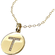 Katie Holmes DIAMOND Initial Necklace In 14K Solid Gold And Genuine Diamonds