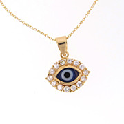 """Gold Filled Lucky Evil Eye Necklace With CZ's - Cubic Zirconia, 16"""" Chain"""