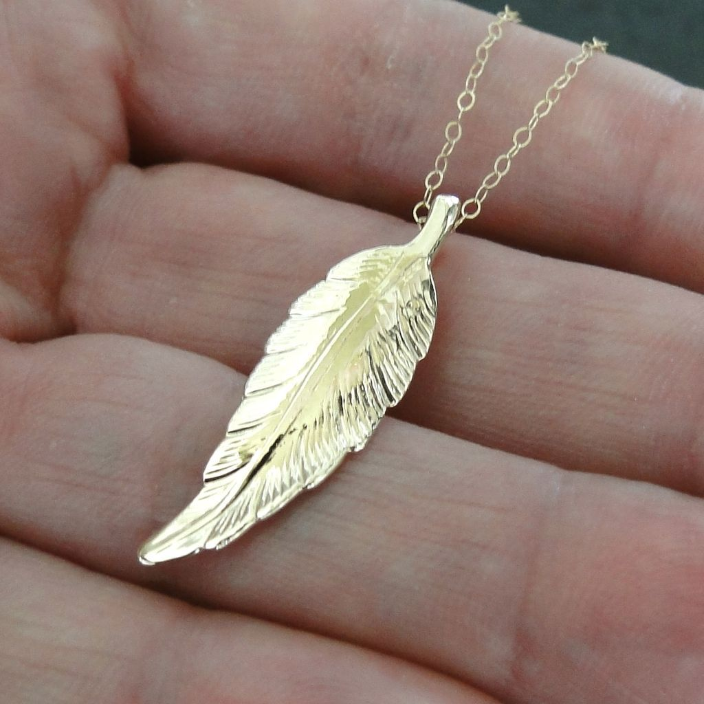 14k Solid Gold Leaf Necklace As Seen On Jennifer Aniston
