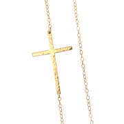 SOLD Sideways Cross Necklace, Off Center - Long, Sleek, And Hammered, 14K Gold Filled