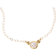 Diamond Solitaire Necklace, 14K Solid Gold