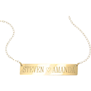 WILL ENGRAVE - 14K Gold Nameplate Necklace, Yellow Rose or White Gold, Name Plate As Seen on K