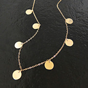 Round Disc, Coin Drop Necklace In Gold Filled - Floating Dots - As Seen on Mackenzie, (The New