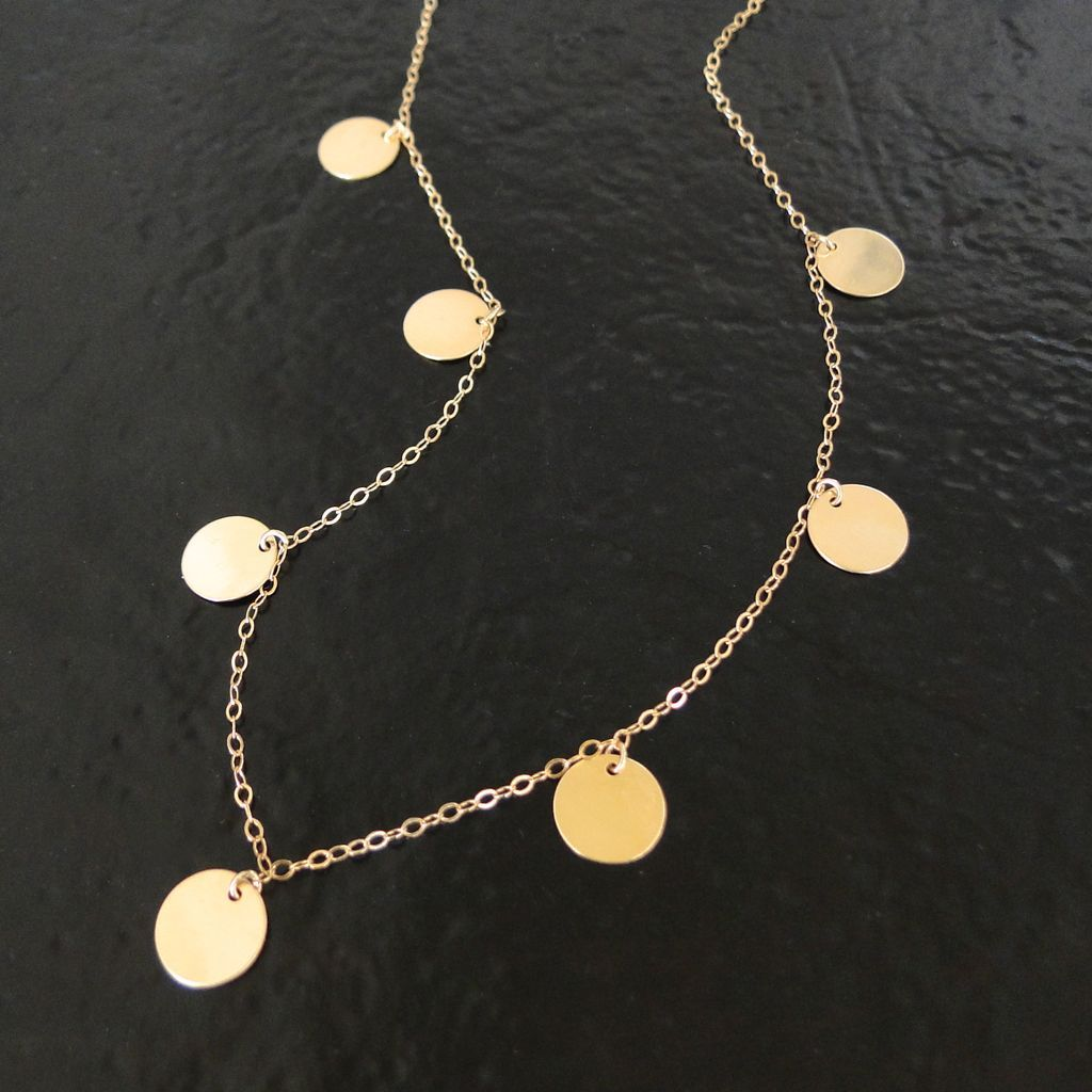 Round Disc Coin Drop Necklace In Gold Filled Floating