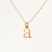 Tiny Lowercase Letter Necklace, Personalized Necklace,Your Initial Necklace - 14K SOLID Gold U