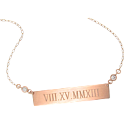 Will Engrave 14K ROSE Gold Diamond Bar Nameplate Necklace, Personalized Name Plate As Seen on
