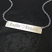 Will Engrave Sterling Silver Name Plate Necklace, As Seen on Kim Kardashian - Also Available A