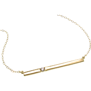 SOLD 14K Gold Bar Necklace, With Diamond Thin Horizontal Stick Necklace, Celebrity Style - Cam