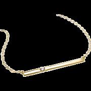 14K Gold Bar Necklace, With Diamond Thin Horizontal Stick Necklace, Celebrity Style - Cameron